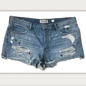 Lucky Brand Lady Bug Distressed Boyfriend Shorts